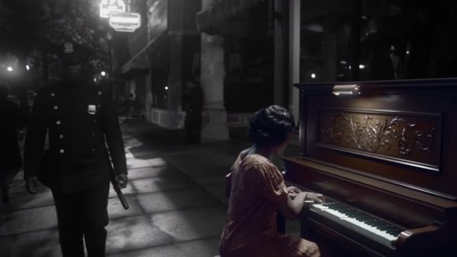 Will walks down the street as his mother plays the piano next to him.