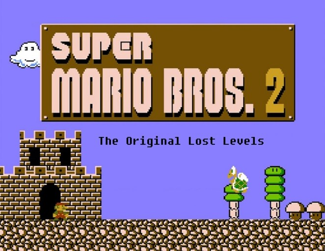 The Japanese version of the Super Mario Bros. 2 title screen. In this image: Mario stands outside a small castle, while a winged Koopa Trooper turtle bounces towards him. Subtitle: The Original Lost Levels
