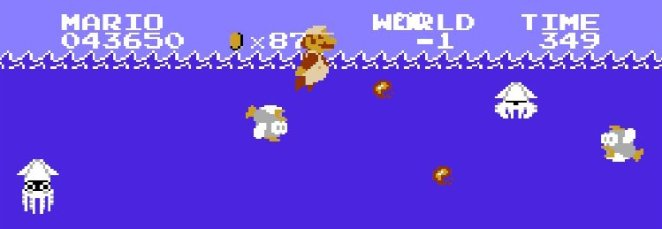 Super Mario shoots fireballs at Bloopers and Fish in the glitched Minus World