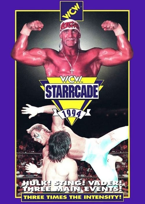 The poster shows two wrestlers in the ring on the bottom half, but the top half is dominated by the fexing torso and head of new arrival to WCW Hulk Hogan.