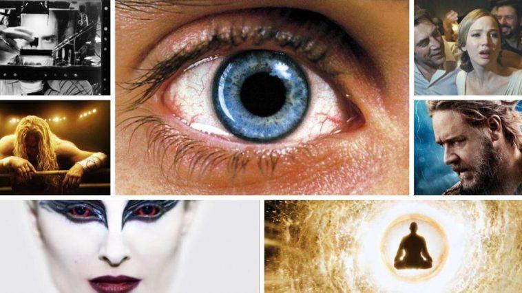 Collage of Aronofsky film scenes