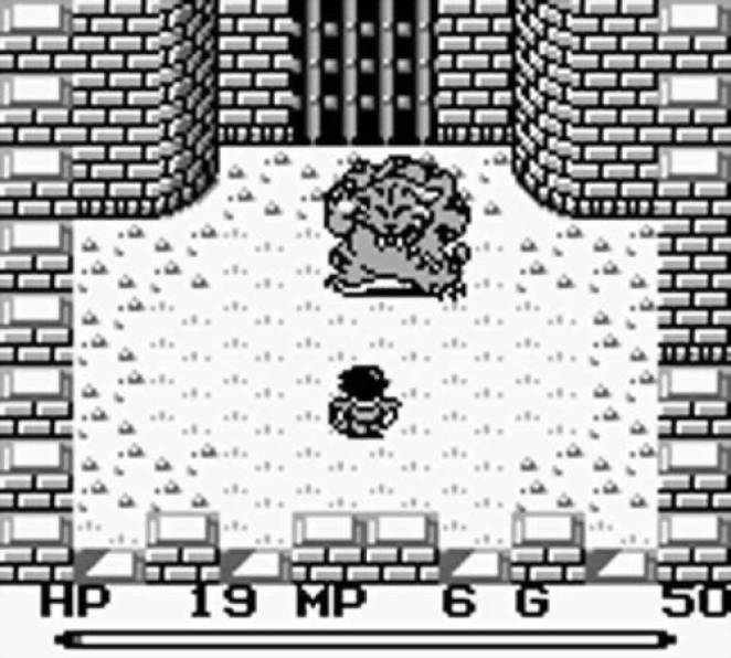 The protagonist fights a large werecat type creature in a gated arena