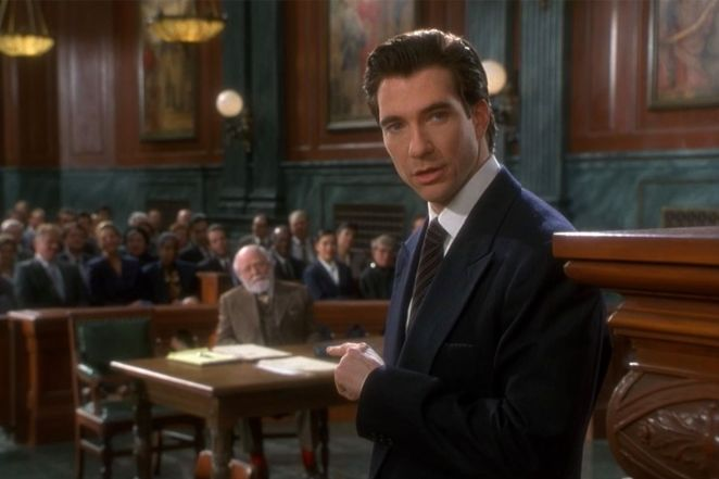 Dylan McDermott as Bryan a lawyer defending Santa in a courtroom