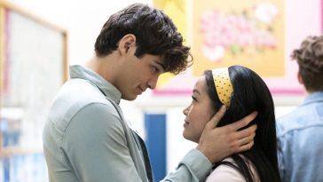 A man holds a woman's head in his hands in P.S. I Still Love You