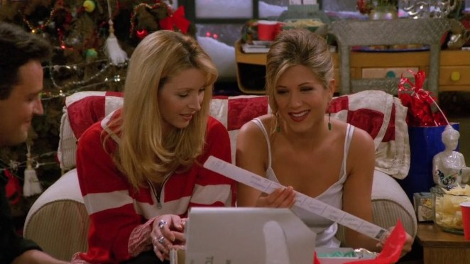 Rachel and Phoebe look at the wiper blades Chandler and Joey gifted Rachel
