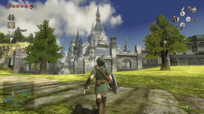 an image of the gameplay and HUD, with link running through a field towards Hyrule castle