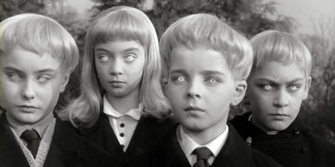 Village of the Damned children with platinum hair and piercing eyes