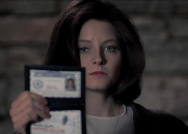 Clarice Starling holds up her special FBI ID card