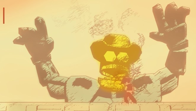 Clive defeats the giant, yellow headed robot cowboy.