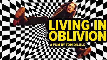 Steve Buscemi as film director falling in a black-and-white-checkered vortex