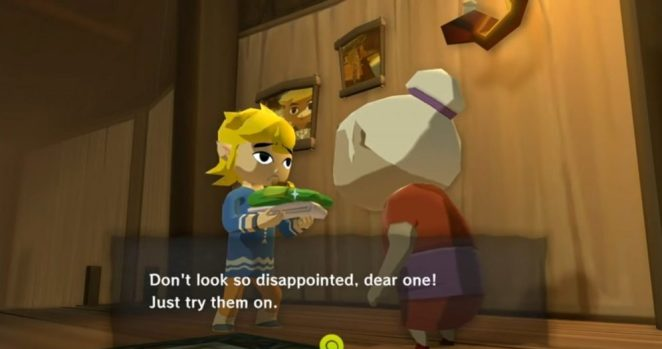 Link receives his tunic from his grandmother.