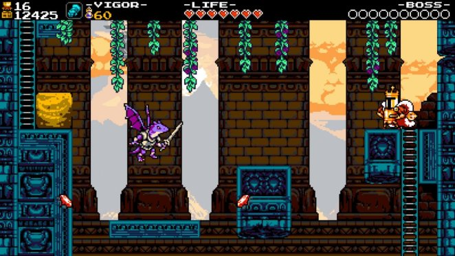 King Knight stands atop a platform on a ladder, while a purple Drake with a sword flies around.