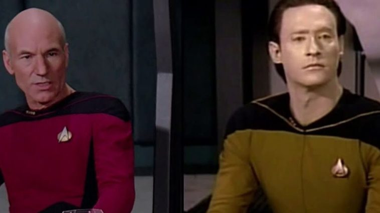 Picard and Data sit at the trial in The Measure of a Man