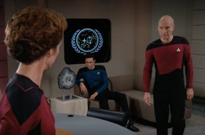 Picard with Maddox and Louvois in The Measure of a Man