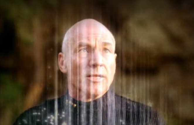 Picard as The Enterprise tries to transport him away