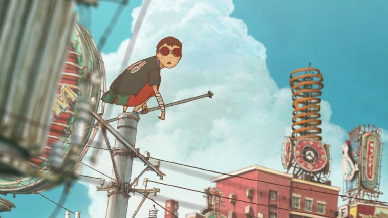 The teenage thug Black in Tekkonkinkreet perches on a rooftop