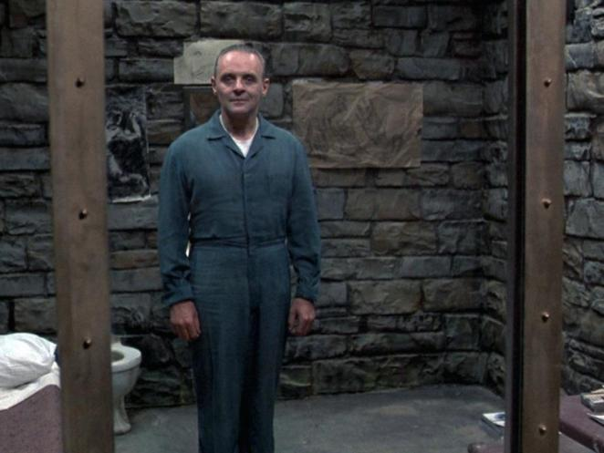 Dr Lecter's first entrance in the film, standing in his cell, waiting