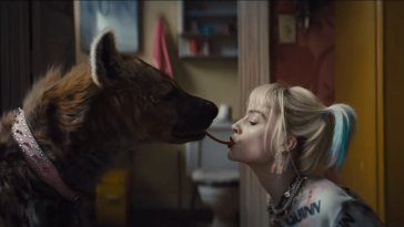 Harley Quinn and a dog Lady and the Tramp style
