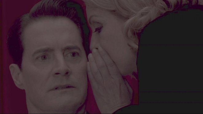 Laura Palmer (right) whispers enigmatically in Dale Cooper's ear
