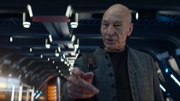 "Picard S1E3 - Picard in civilian clothes on the bridge of a starship making his ""engage"" hand gesture"