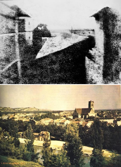 "The picture above is reputed to be        the world's first photograph.  It was taken in 1826 and was developed        by French photographer Joseph Nicéphore Niépce. He called this process        ""heliography"" or sun drawing and the entire process took eight hours.The next picture below is reputed        to be the world's first color photograph.  Taken by by Louis Ducos du        Hauron in 1872, the photo is of a view of Angouleme in Southern France.source"