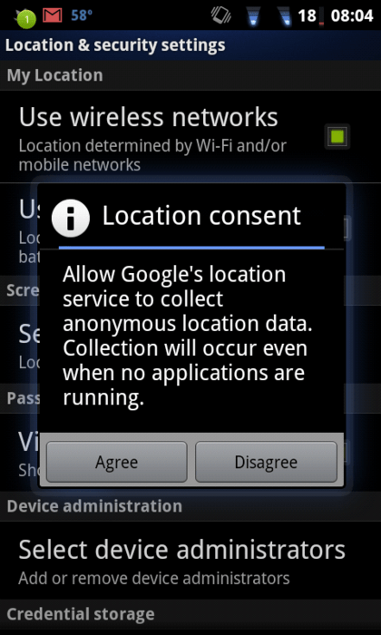 Google Android Location Awareness Warning