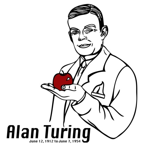 Alan Turing with Poison Apple Illustration