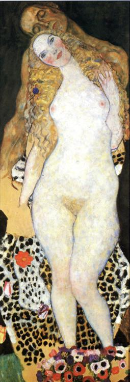 Adam and Eva (unfinished) - Oil on canvas - Gustav Klimt - c. 1917-1918