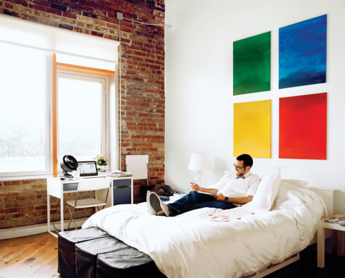 """""""The wall art revealed his true friends. Anyone who said 'Windows' was shown the door.""""<br /><br /><br /><br /><br /> - caption by contest winner M_Sullivan<br /><br /><br /><br /><br /> (Photo: Jake Stangel; Dwell)"""