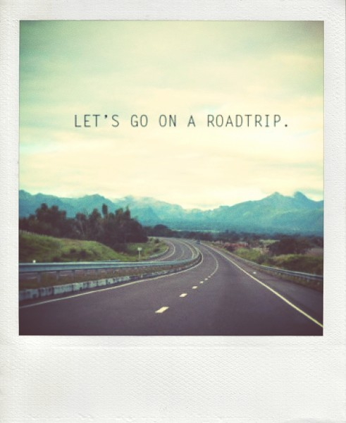 road trip, road picture, polaroid of road, picture of driving