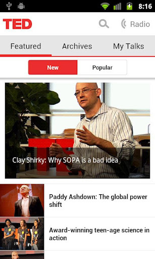 Aplikasi Ted untuk Android dengan Holo Style