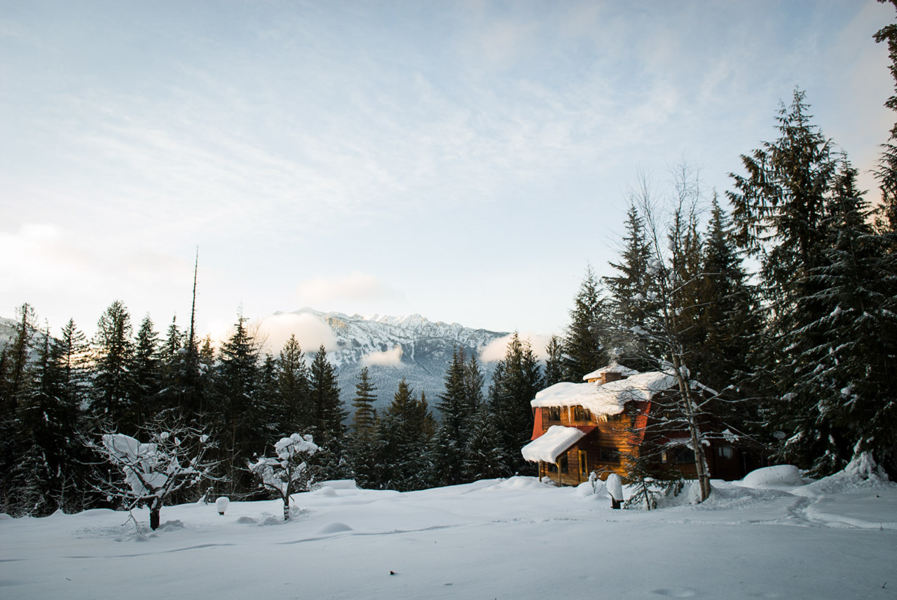 Timber frame cabin overlooking the Valhalla mountain range in Silverton, British Columbia.  <br /><br /><br /><br /> Photographed and submitted by Bryce Duffy.