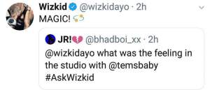 See What Wizkid Tells Fan Who Asked Him How It Felt Being In The Same Studio With Tems