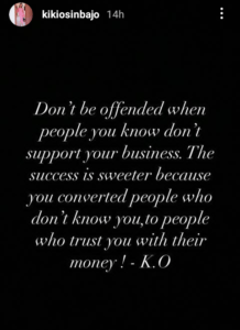 """Don't be offended when people you know don't support your business"""" – Kiki Osinbajo"""
