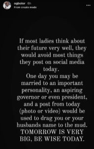 """If most ladies think about their future very well, they won't post certain things on social media"""" — OAP, Ogbolor"""