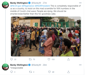 In the middle of the pandemic, Nigerian Government has its citizens queuing up to get their NIN numbers – Banky W