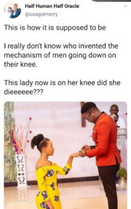 """""""This is how it is supposed to be""""- Nigerian man reacts to viral photo of lady kneeling as her fiancé proposed to her"""