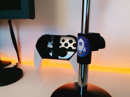 The Launch Center Pro sticker I attached to my microphone stand last month.