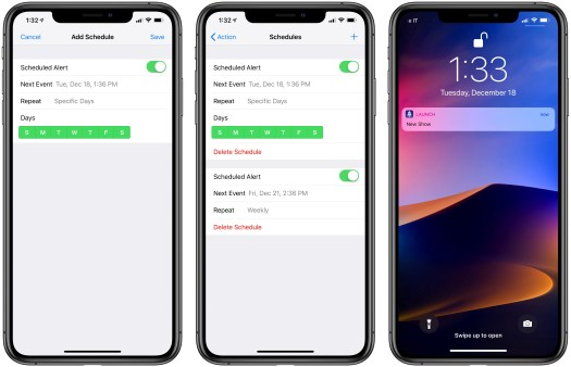 Multiple schedules in Launch Center Pro 3.0.
