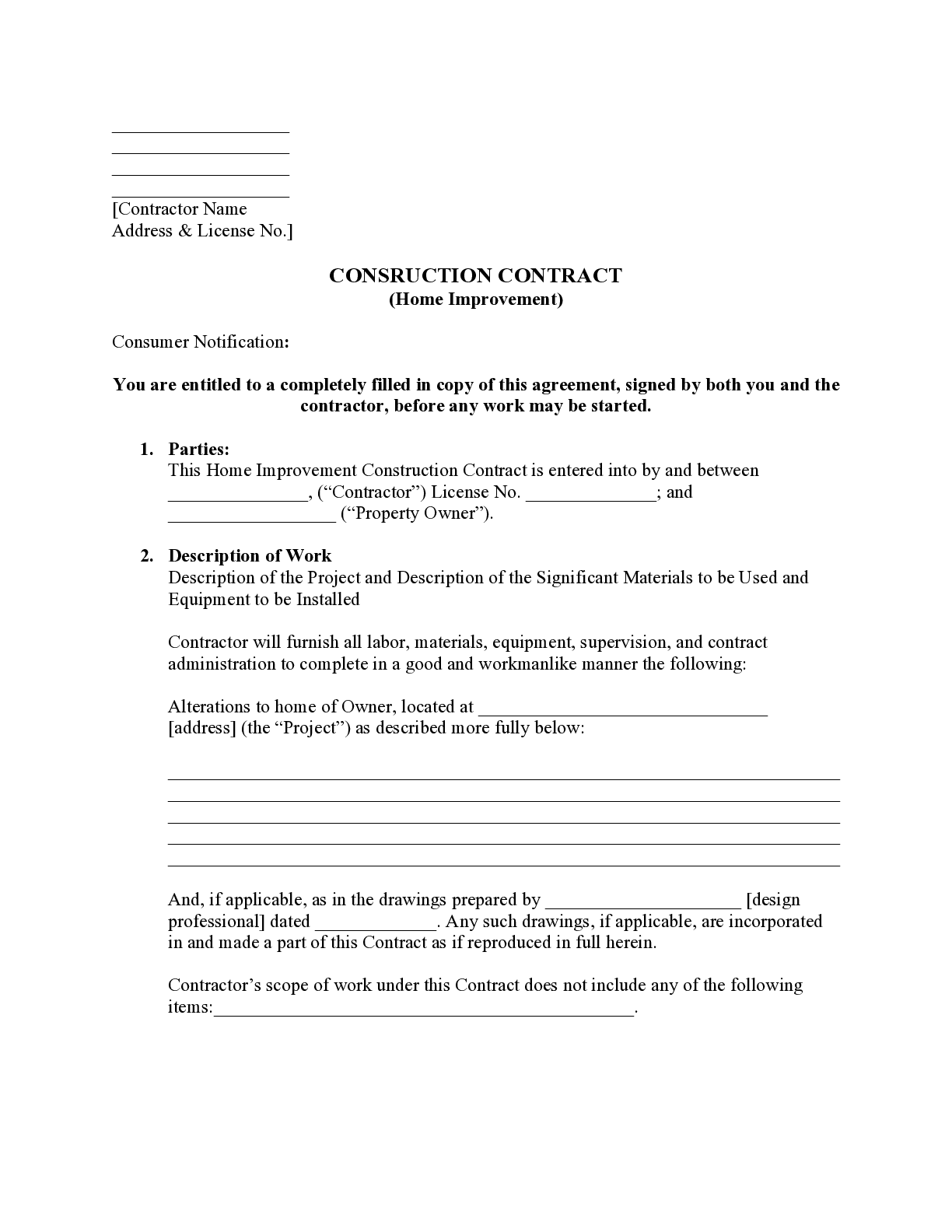 California Home Improvement Contract Form Free Template