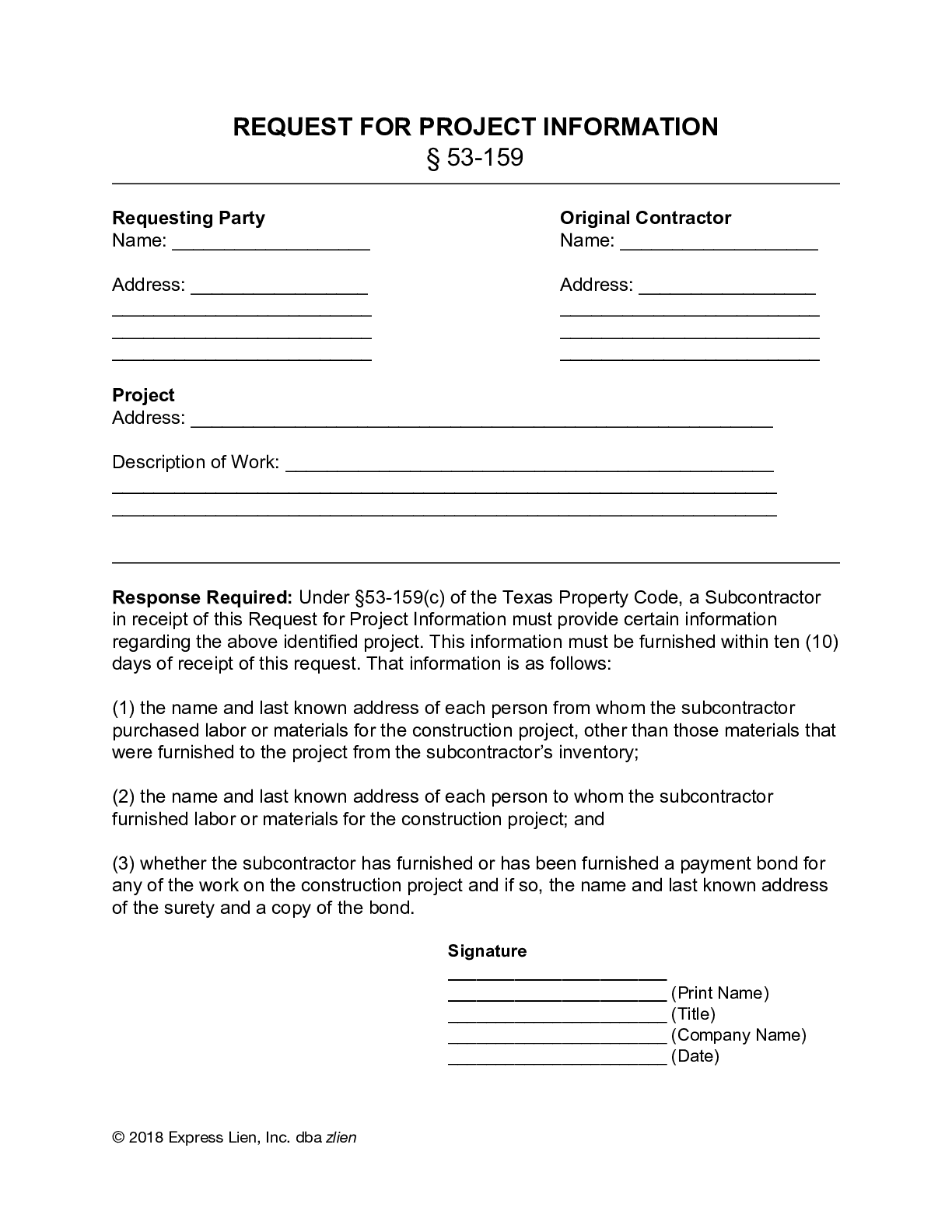 Texas Request For Project Information Form