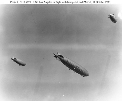 USS Los Angeles (ZR-3) Flies in formation with the Navy blimps J-2 (left) and     ZMC-2 (right), during maneuvers off Atlantic City, New     Jersey, 11 October 1930. via www.history.navy.mil