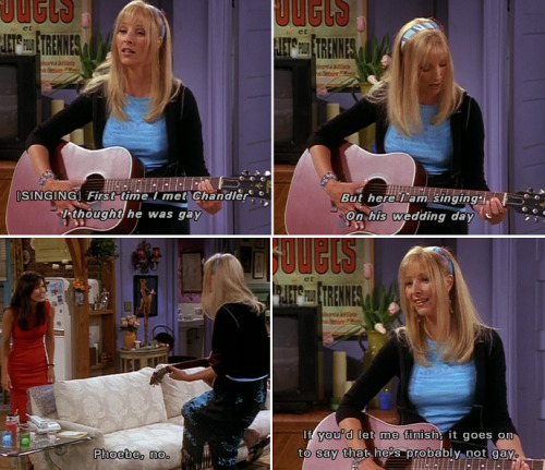 Phoebe wants to sing at Monica and Chandler's wedding. Monica is not convinced.