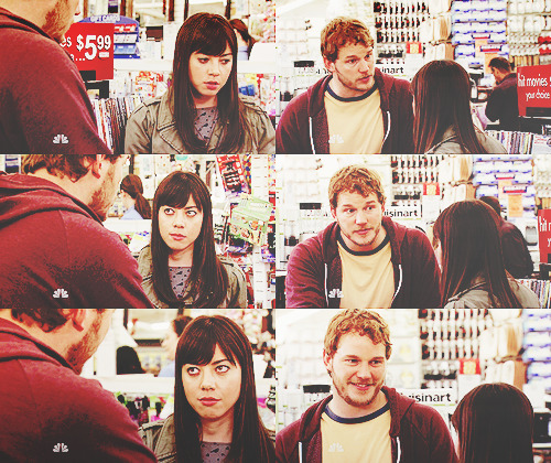 Andy: What? What's wrong?April: Nothing. It's just adults are boring and I hate them. And I don't want to buy all this stupid, boring adult stuff and become boring adults. Andy: Hey, listen to me. Yes, we're gonna get a dish rack and shower cutains and a cutting board. But if you think for one second I'm not also gonna get that marshmallow shooter so I can shoot you in the face with marshmallows when you're asleep, then you're the dumbest woman I know. April: You're gonna make me cry.