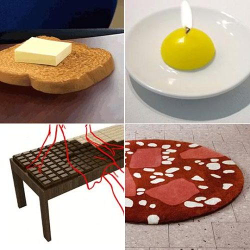 "Round Up: Food Shaped Furnishings and Home Accessories  By Gregory Han | Apartment Therapy I think I must be hungry because I spent way too much time gathering  these food related home items and now I'm in dire need of some lunch.  Below the jump are eleven food inspired home furniture items that run  the gamut of tables, chairs, rugs, wallpaper, pillows and more, some  looking good enough to devour…  View all items at once (with links)  Adele Rotele Chocolate Bar Bench: break me off some of that! Toasted Notes: everything is better with butter…even your to-do notes. Cupcake Table: love the scalloped trim and understated nod to one of our favourite treats. Chinese Take Out Lamp: these should have come with fortune cookie light bulbs.  Fry Up Candle: a visual yolk joke. Donut food-shaped FM Radio: Mmmm-mmm donuts. Baguette Wrist Rest: this might cause hunger pangs and unnecessary snacking urges by the computer. Blood Sausage, Bierschinken and Salami rugs: put these inbetween a couple of these toast mattresses and you've got one helluva a sammy. Scratch 'n Sniff Wallpaper in Tutti Frutti: we'd like one in BBQ and one in bacon, please. Sushi Pillows: sadly, these are still cheaper than most outings to the local sushi bar. Banana Hammock: we threw this one in there just for the amusement of typing ""banana hammock"" and the keen carrying case. ""Cool Hamburger Shaped Bed"", via Cool Furnitures this stylish furniture is a real unique kids furniture most comfortable  and soft for use, you can enjoy when you will use this creative bed.  You can see this stylish furniture for how you could use this unique furniture. So kids hurry up and get this cool furniture which is the best 2010 stylish furniture,  so enjoy with new creative furniture. I hope all kids and youngsters  like this, if you like this than feel free to comment about this stylish  furniture.  Candy Bar Beds   Chocolate Furniture by Iris Koser Looks Good Enough to Eat Chocolate Furniture by Iris Koser Looks Good Enough to Eat  The Chocolate Furniture by Iris Koser is an all-in-one accessory for  your home. The couch, which also serves as a day bed, resembles a great  big chocolate bar with perfect brown square panels.   The Chocolate Furniture is convertible and customizable and even  comes with its very own aluminum wrapping in the form of a blanket and  coffee table. The day bed couch also has a secret deposit box to stash  all your real tasty treats away.  References: iriskoser-design.de and apartmenttherapy  Massive Muffin Chairs  The Cupcake Seat Can be Used as A Tasty Ottoman  The Cupcake Seat is a giant, tasty-looking treat that is topped with fake chocolate frosting. This costly cupcake seat sells for $900 and comes in a range of  finish colours including red, orange, yellow, brown, metallic silver,  baby blue, violet, pink and lime green. Check out the Cupcake Seating above for a closer look at how you can  add a little treat to your everyday life, without the calorie intake! Implications - Consumers in the modern sphere are looking for  items that will comfort them. Products featuring an aspect of feeling  like home are appealing to those who want to relax for a bit. In order  to attract more customers, companies could focus their efforts on this  element.    References: jellio  Fruit-Inspired Furniture  Rocking Banana  Rocking Banana Sofa for Saloni 2009  This big golden banana sofa has integrated workings that create a  gentle rocking motion. The fun couch was materialized by Lithuania-born  designer Andrej Statskij for the Saloni 2009 furniture fair. I have to admit the piece looks rather comfy, but the yellow color  may not be my favorite. I think the same sofa in black would look much  less like a banana and easily fit into a modern décor—but what fun would  that be? The other samples here are contemporary concepts also designed by Statskij, an architect and industrial designer.  References: andrejstatskij.jimdo and design-milkFruit-Shaped Terrariums  Recycled Glass Pear Vases From Viva Terra  Recycled Glass Pear Vases From Viva Terra  Grow a little greenery in these lovely glass pear vases. These  beautiful fruit-shaped terrariums are made of recycled glass and come  with sand and four air plants that require minimal care. This is the  perfect gift for those who may not yet have a green thumb, but still  want to gaze upon a lovely bit of nature. These glass pear vases house a mini desert landscape that will  fascinate. You can also buy the case alone to create your own little  world inside. References: vivaterra and designspongeonline  Sushi Furniture  Mimi Tin's Fishy Furniture is Interior Decor for Sushi Lovers  Mimi Tin's Fishy Furniture is Interior Decor for Sushi Lovers  Atlanta-based Designer Mimi Tin's idea for her Sushi Style line of  furniture came to her in grad school as an  assignment fulfillment to  create a piece of furniture from a design period.  She chose pop art  with an Asian influence.  Her original design evolved into her premier  piece, the Carrot Ottoman, which consists of six individual wedge-shaped  cushions that sit on top of a wooden base, and are held together with a  ""seaweed wrap"" to complete the sushi look. Mimi's talents go beyond furniture design, as she offers mini  versions of the sushi furniture as accessories for the two dolls in her  Sushiami  plush doll collection.  Click on the pictures of the Sydney  and Brooke dolls in the gallery above to see how sushilicious they  really are!  References: sushistyle and nytimes"