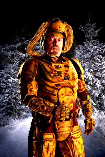 Bill Bailey wearing some sort of industrial looking space armour