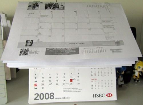 Cheapo semi-makeshift desktop 2012 Calendar