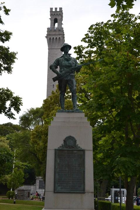 Soldier guarding pilgrim monument