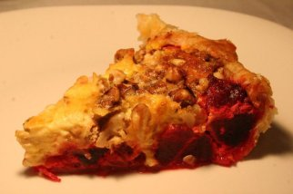 goat cheese, beet, walnuts and caramelized onion tart