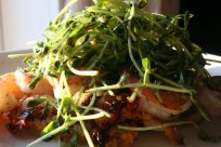 shrimp with balsamic pea shoots